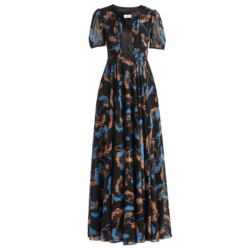 绿慕连衣裙2021夏装新款气质V领大码修身优雅显瘦大摆长裙子女仙