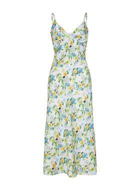Ching's 法式显瘦缎面碎花吊带裙女 设计感仿真丝收腰气质连衣裙