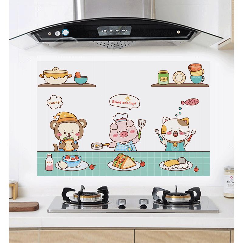厨房防油贴纸家用透明防水防油柜灶台用耐高温油烟机墙面装饰壁纸