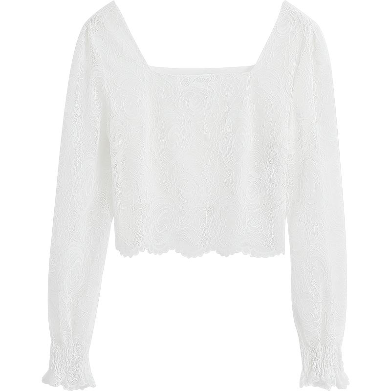 蕾丝衬衣怎样搭配:蕾丝衫长袖镂空上衣
