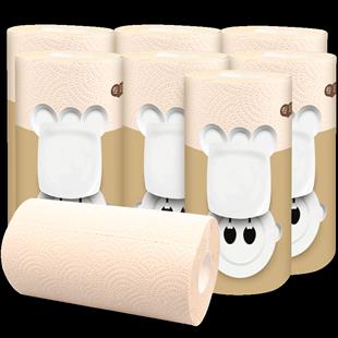 良竹本色纸厨房纸巾8卷整箱卷纸