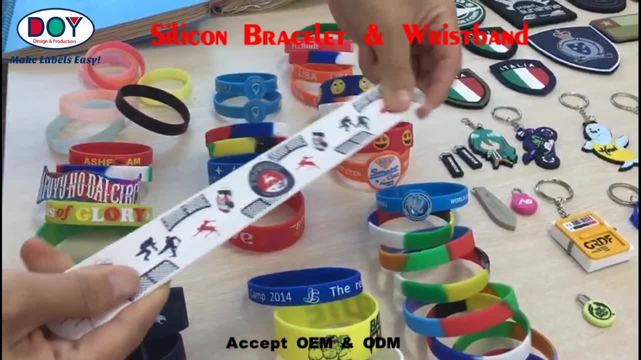 Wholesale Design Custom Debossed Name Logo Soft PVC Silicone Wristband Keychain for Promotional Gift