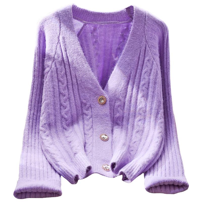 紫色麻花外套宽松外穿2020针织衫质量如何?