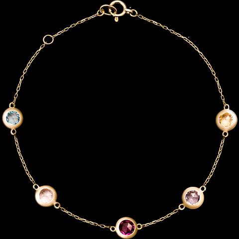 【王子文同款】CIRCLE日本珠宝四色宝石9K黄金彩宝石榴石手链女