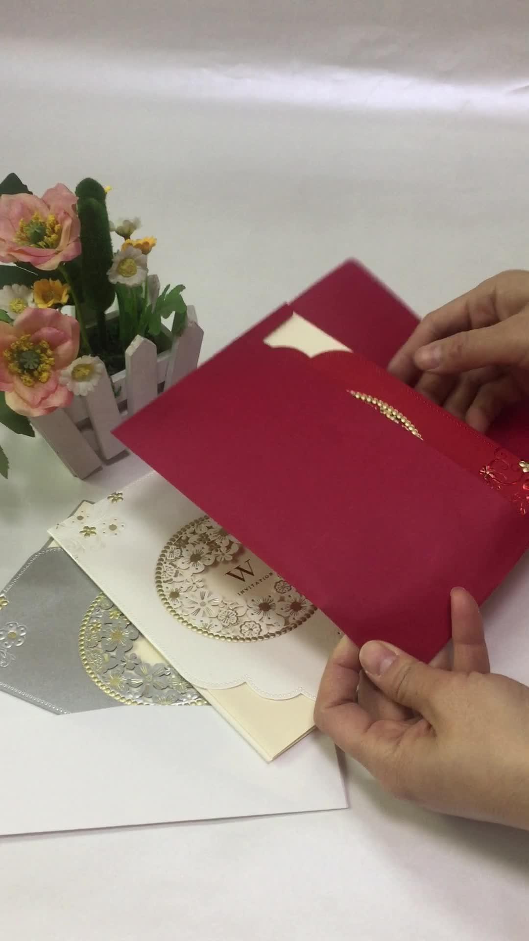 Dilian Wedding 2018 Original New Design Sweet Garden Theme Ivory Wedding Invitation Card