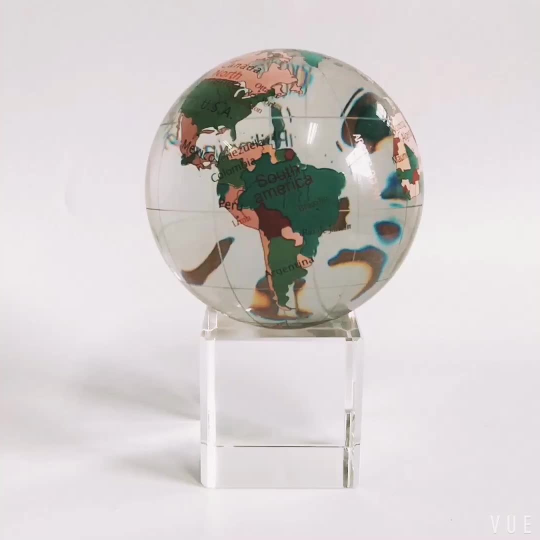 Hot sale souvenir or business gifts decorative rotating crystal world map globe/glass earth globe ball