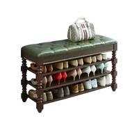 莞岭 实木鞋架美式换鞋凳家用鞋架子可坐鞋柜门口欧式鞋架凳收纳