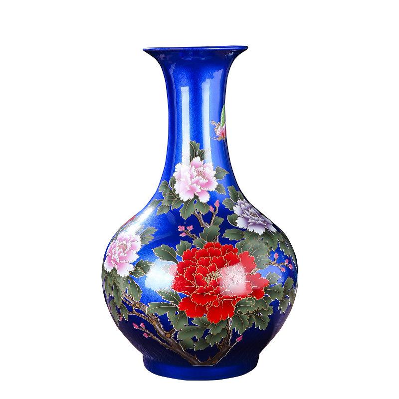 景德镇陶瓷器红黄蓝色牡丹插花瓶能入手吗
