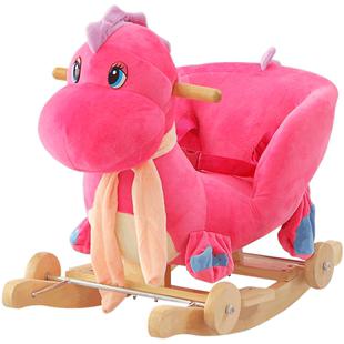 兒童木馬寶寶搖馬帶音樂實木兩用大號搖椅嬰兒益智玩具週歲禮物