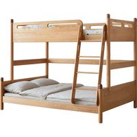 源氏木语全实木高低床北欧橡木上下铺儿童床现代简约双层子母床