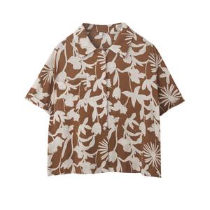 复古港味2021夏季新款短袖宽松衬衫