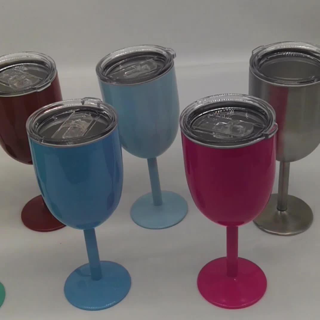 10oz Long Stem Stainless Steel Wine Glasses With Lid Buy Stainless Steel Wine Glasses