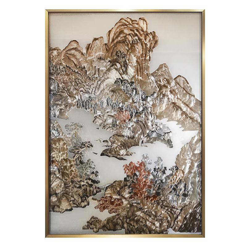 新中式珐琅彩玄关山水立体轻奢挂画评测参考