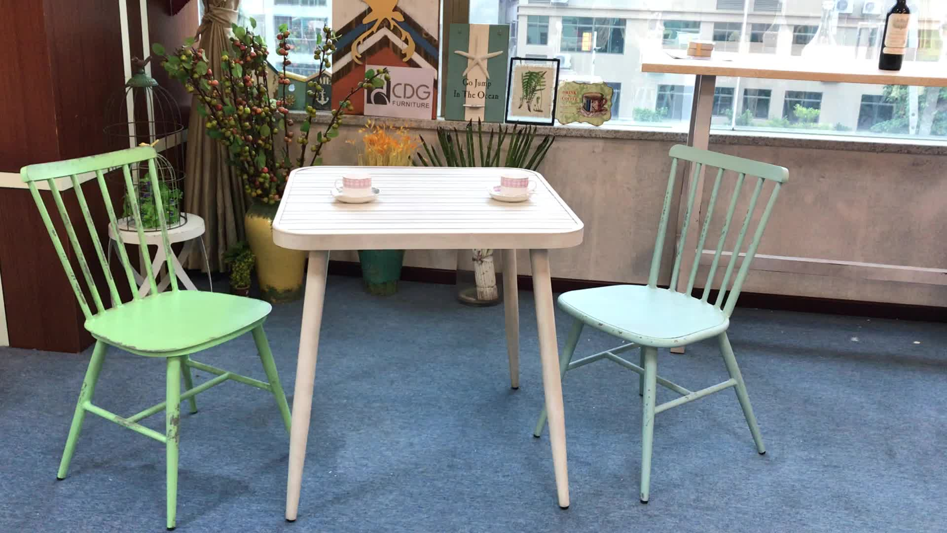 Vintage stainless steel dining table designs hand made coffee shop aluminium tables and chairs for garden