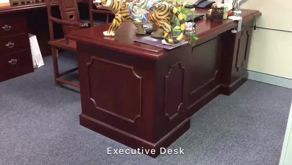 Guangzhou Mahogany Wood Furniture Manager Office Executive Desk(FOH ABB222)