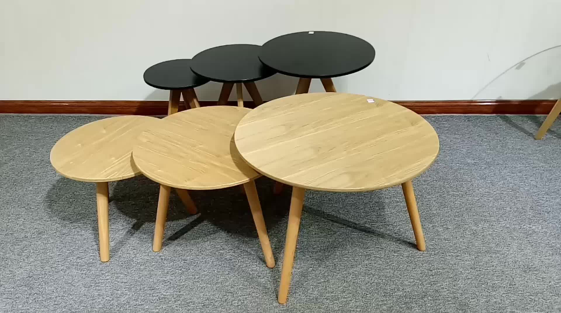 Modern mdf e1board round nesting coffee table with beech for Modern nesting coffee tables