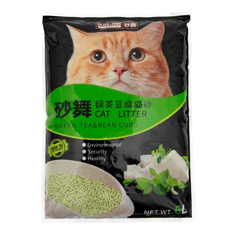 砂舞猫砂绿茶豆腐猫砂6L*6包除臭结团吸水大颗粒猫沙无粉尘豆腐砂
