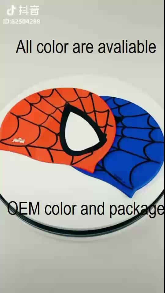 Crianças Spiderman Durável Em Forma de Silicone Touca de Natação