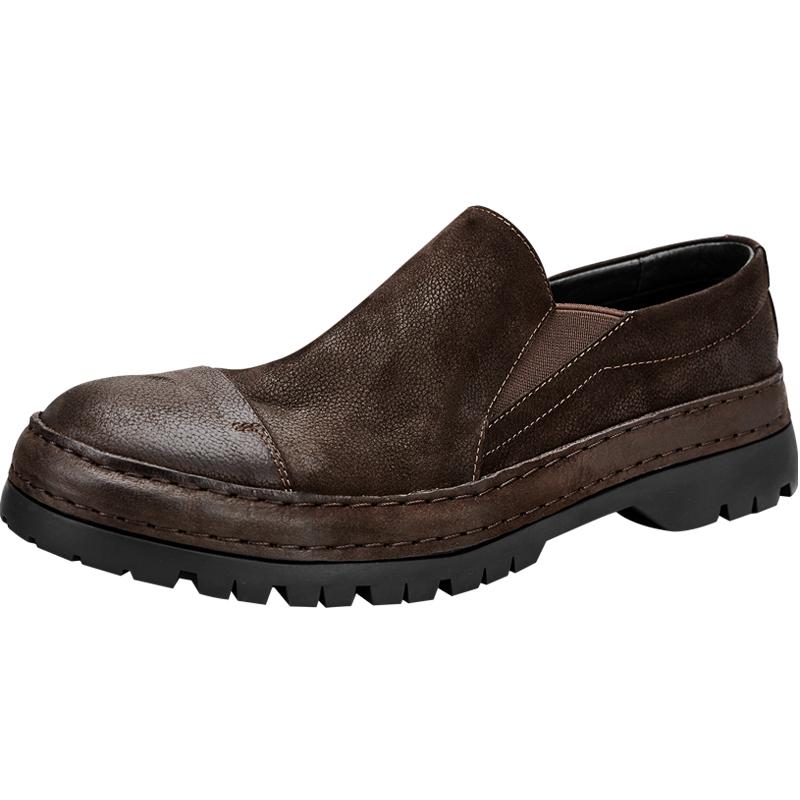 男士2021春款真皮厚底复古潮流皮鞋价格多少好不好用