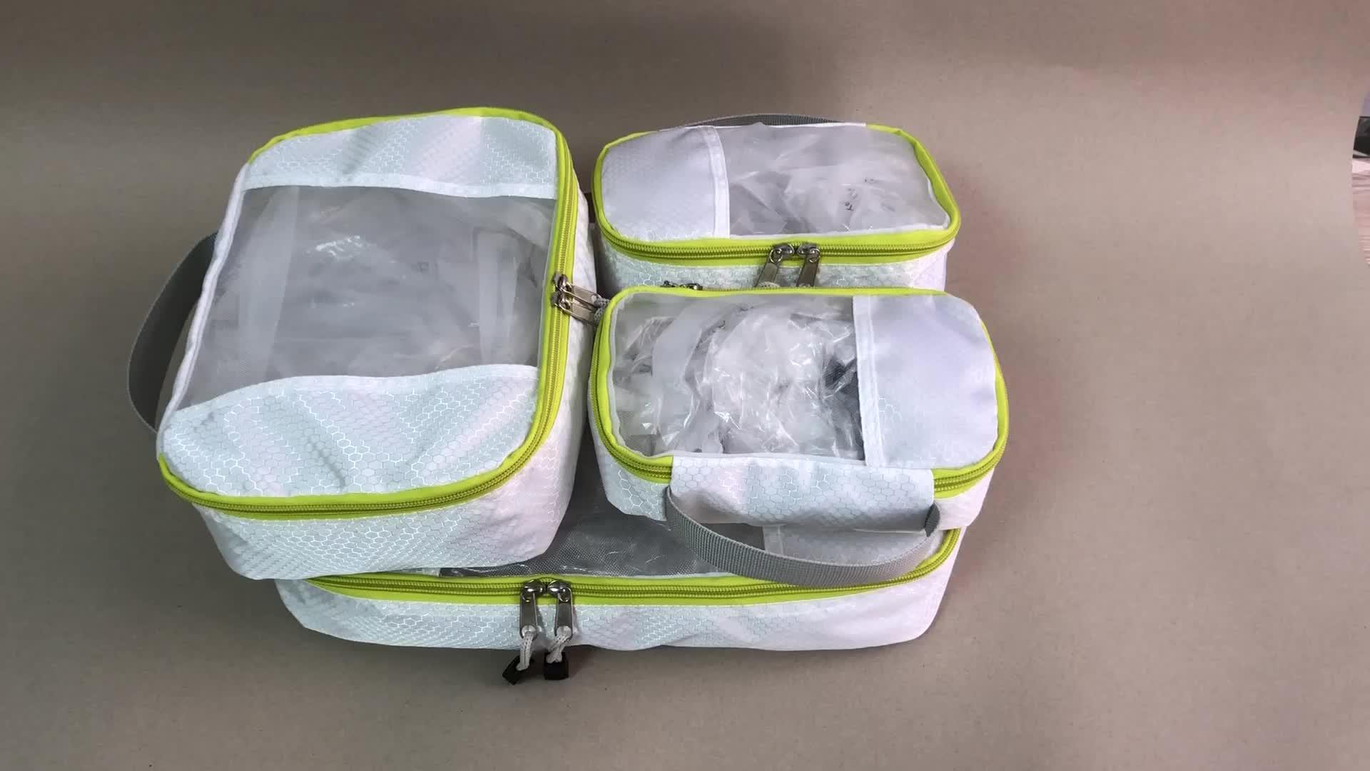 Résistant à l'eau équipement de voyage rangement de vêtements 7 pièces ensemble de sac organisateur de voyage cubes d'emballage de voyage