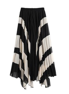 小众半身裙不规则春秋复古雪纺长裙山本设计高腰撞色垂坠感百褶裙