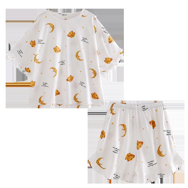 南极人纯棉睡衣女夏季薄款短袖短裤女士春秋款家居服两件套装夏天
