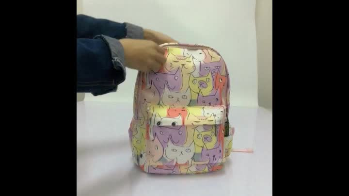 High End Handmade Thermal Transfer Printing Trendy Book Bags Strong Polyester Light Weight Sublimation Kids