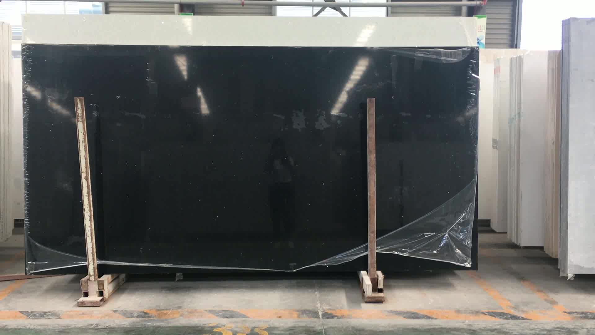 Pure Black Quartz Stone Artificial Surface Slab Sheet Good