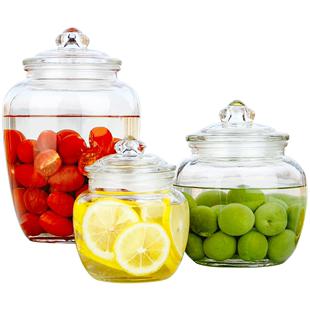 玻璃瓶子带盖加厚大号坚果密封罐