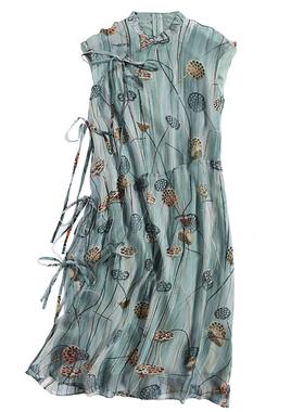 真丝夏装新款修身印花改良夏连衣裙