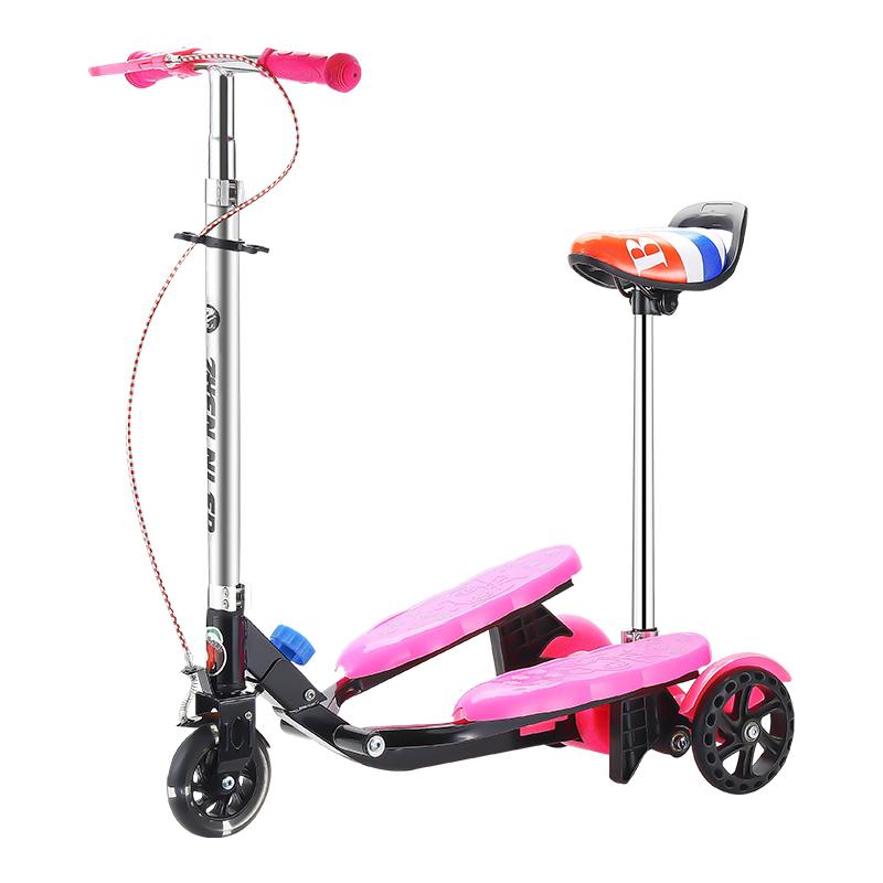 儿童滑板车脚踩双踏板折叠3平衡车