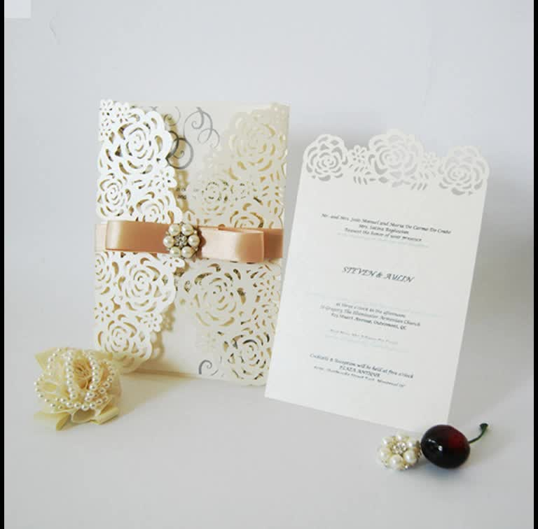 Laser cut invitation card butterfly ribbon elegant lace wedding card laser cut invitation card butterfly ribbon elegant lace wedding card with rhinestone stopboris Image collections