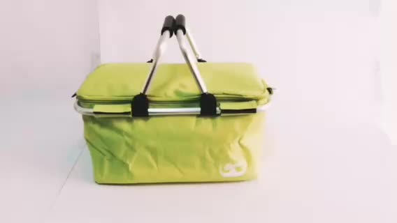 Wholesale camping hiking bbq insulated folding picnic basket, collapsible market bag cooler shopping baskets with handle