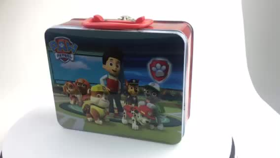 2017 New design square personalized lunch tin box with handle
