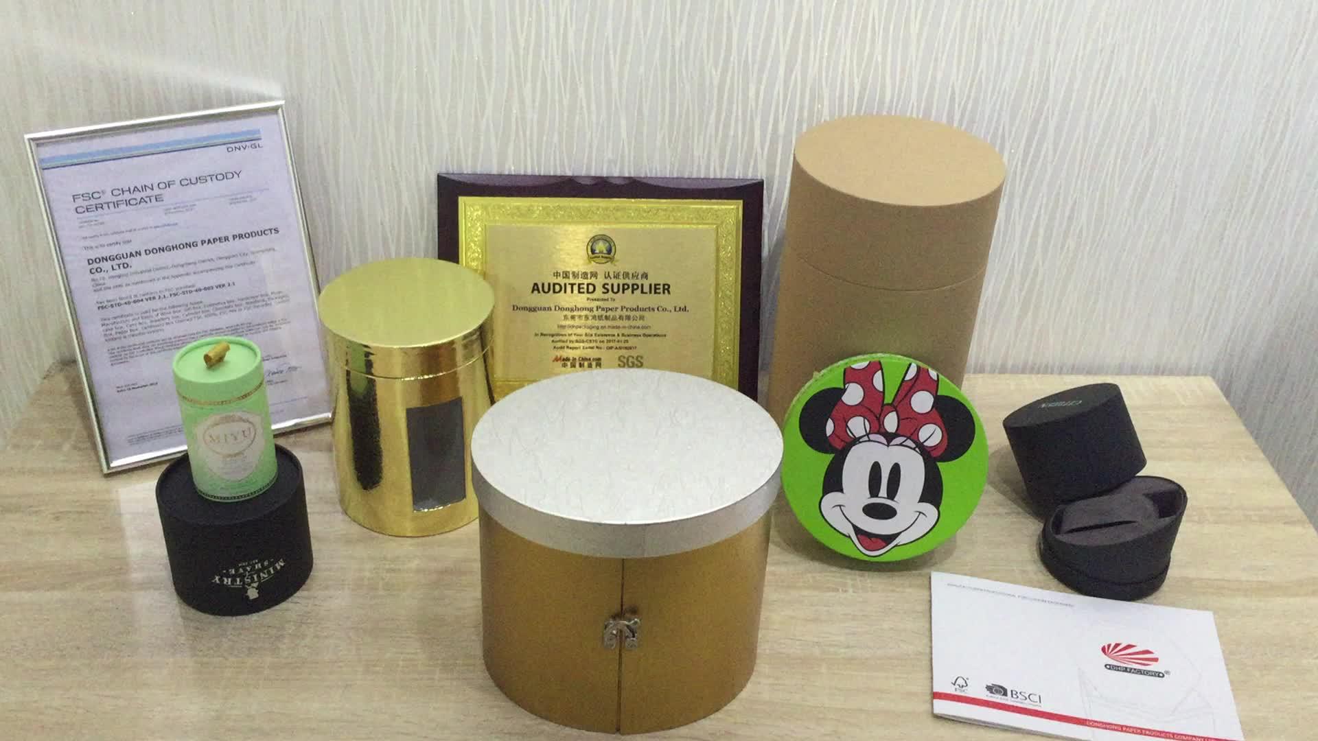 卸売剛性段ボール紙包装カスタムデザインメイドの高級ラウンドシリンダーギフトボックス
