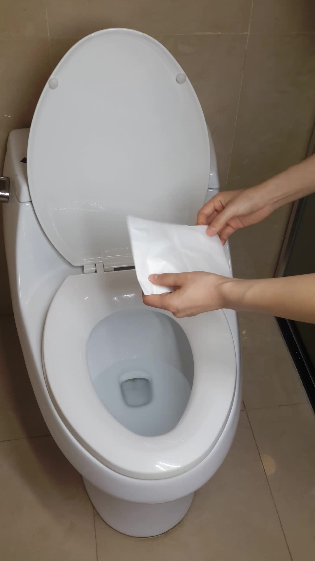 Public Toilets Use Disposable Flushable Paper Toilet Seat