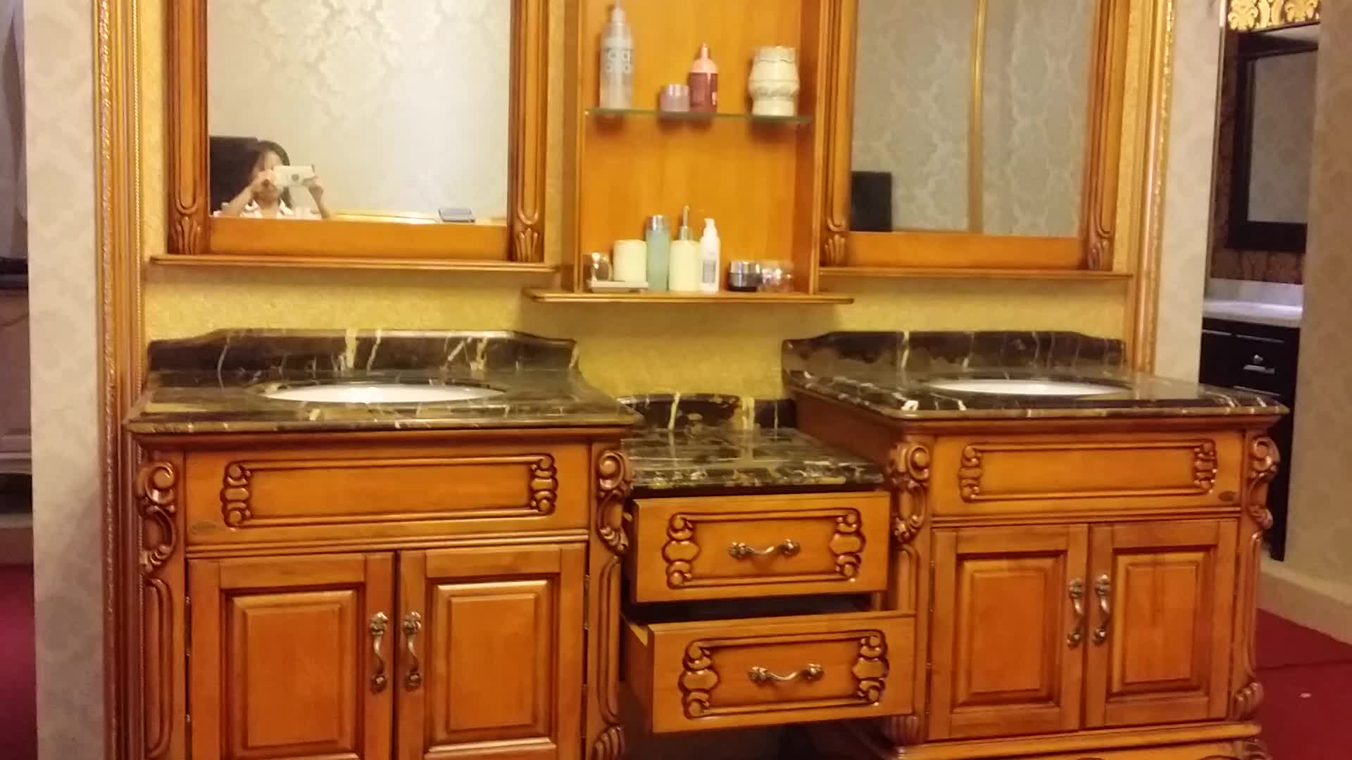 82 Inch Vintage Double Vanity With Natural Mable Top With Wall Cabinet No 1610 Buy Bathroom