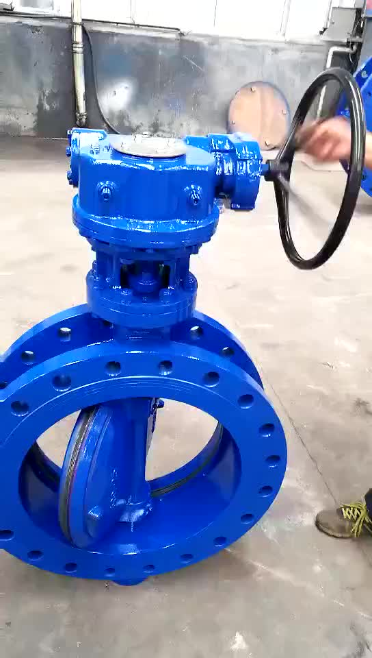 GGG40 Ductile Cast Iron DN600 PN10 Double Eccentric Offset Epfm Segel Butterfly Valve dengan Gearbox Aparthotel Di Dam