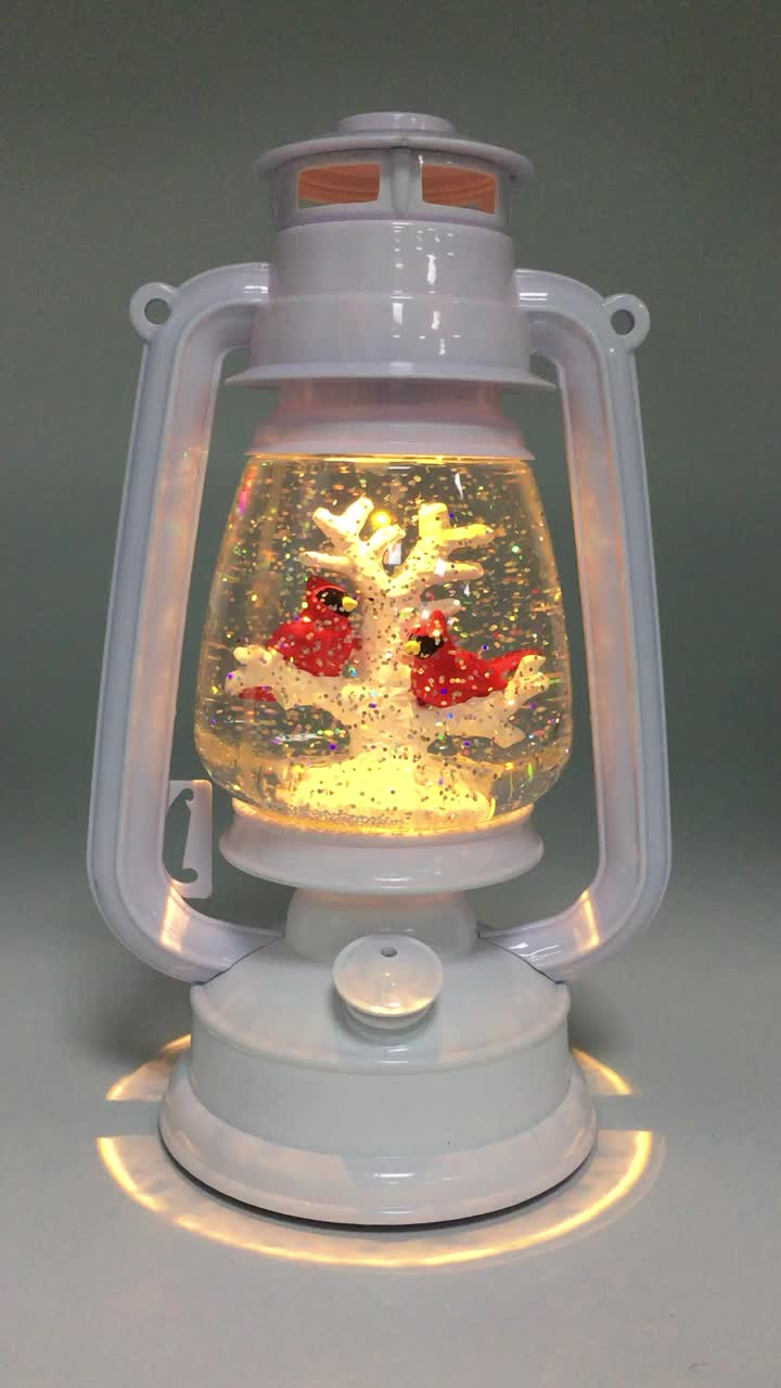 Musical snow globe christmas centerpiece lantern with led