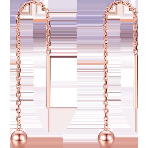 周大生18K金玫瑰金耳线女款AU750圆珠耳环新品送女友礼物彩金耳钉