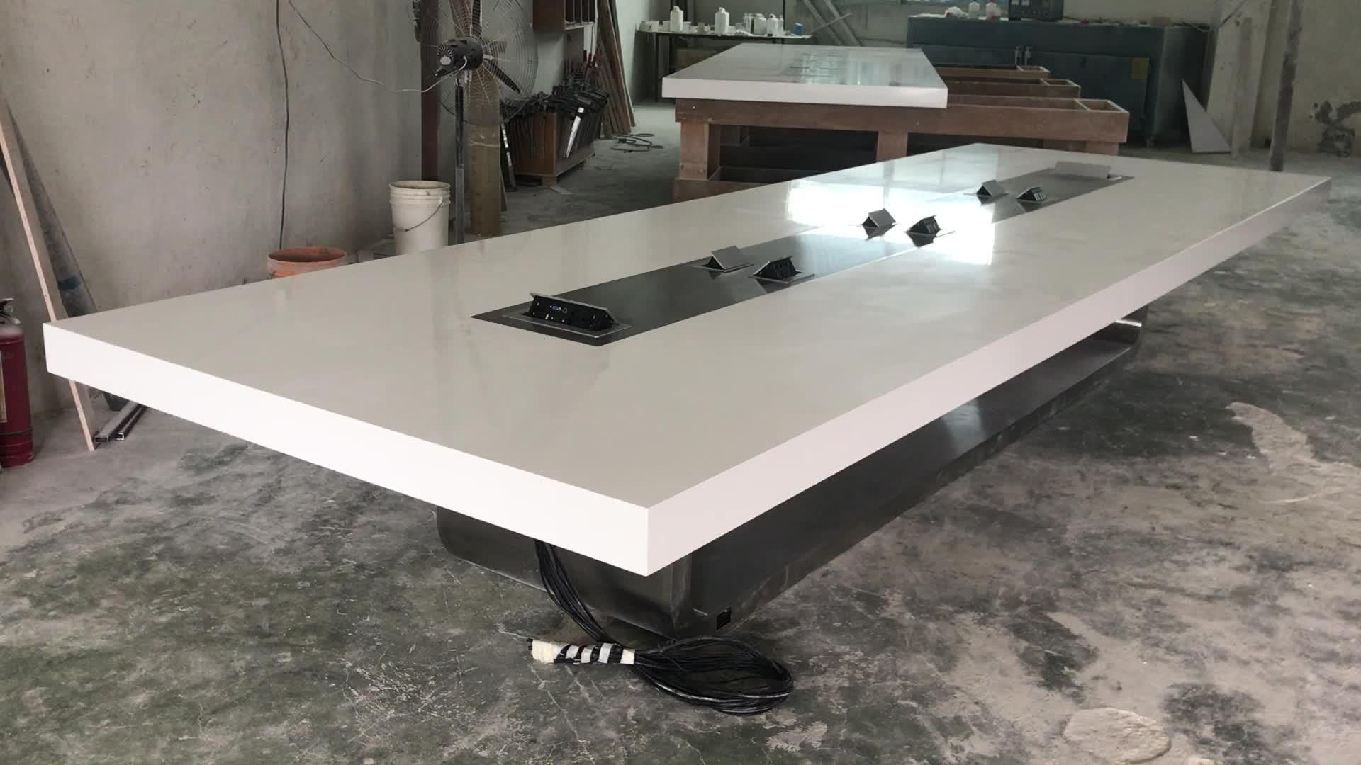 Moderne Acryl Wit Multimedia Kantoor Vergaderzaal Training Tafel met Stopcontact