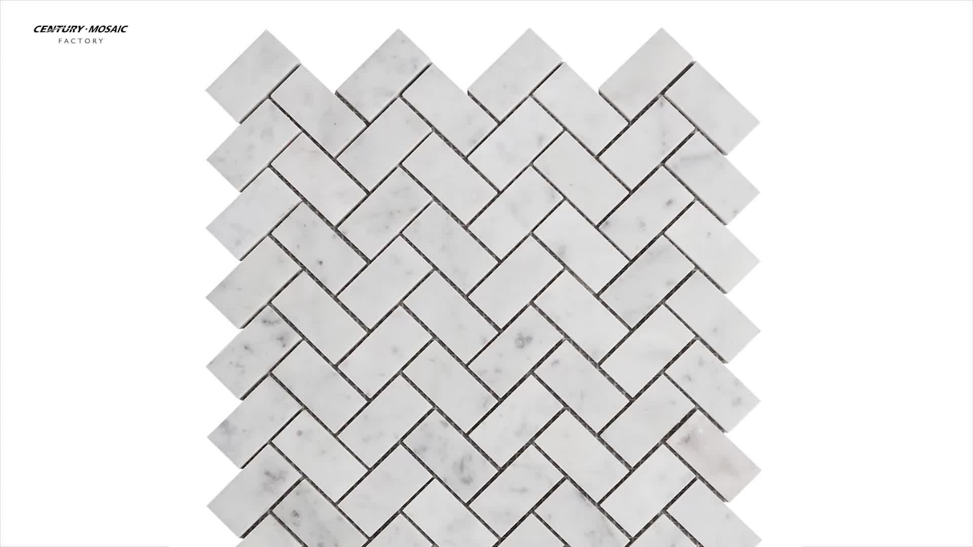 Century Carrara White Herringbone Shaped Marble Mosaic Tile Interior Wallpaper