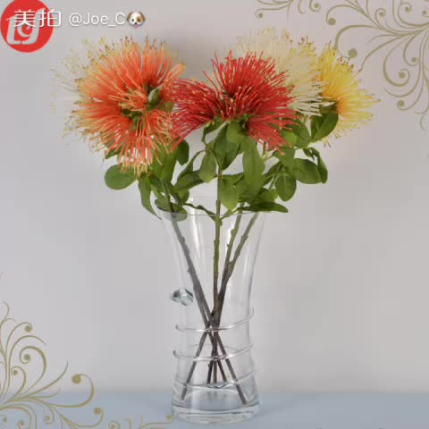 SFB3914 Garden Plant Plastic Flower Single Long Stem Floral Artificial Safflower Faux Cut Mini Tree Branches Silk Flowers