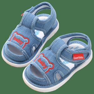 男宝宝凉鞋夏女宝宝鞋子0一1-2-3岁婴儿软底防滑学步鞋叫叫鞋布鞋