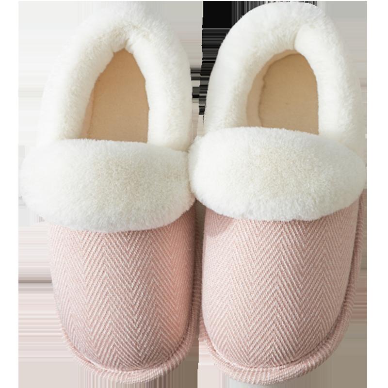 棉拖鞋女家用包跟室内厚底情侣毛绒月子鞋女士家居产后棉鞋秋冬季