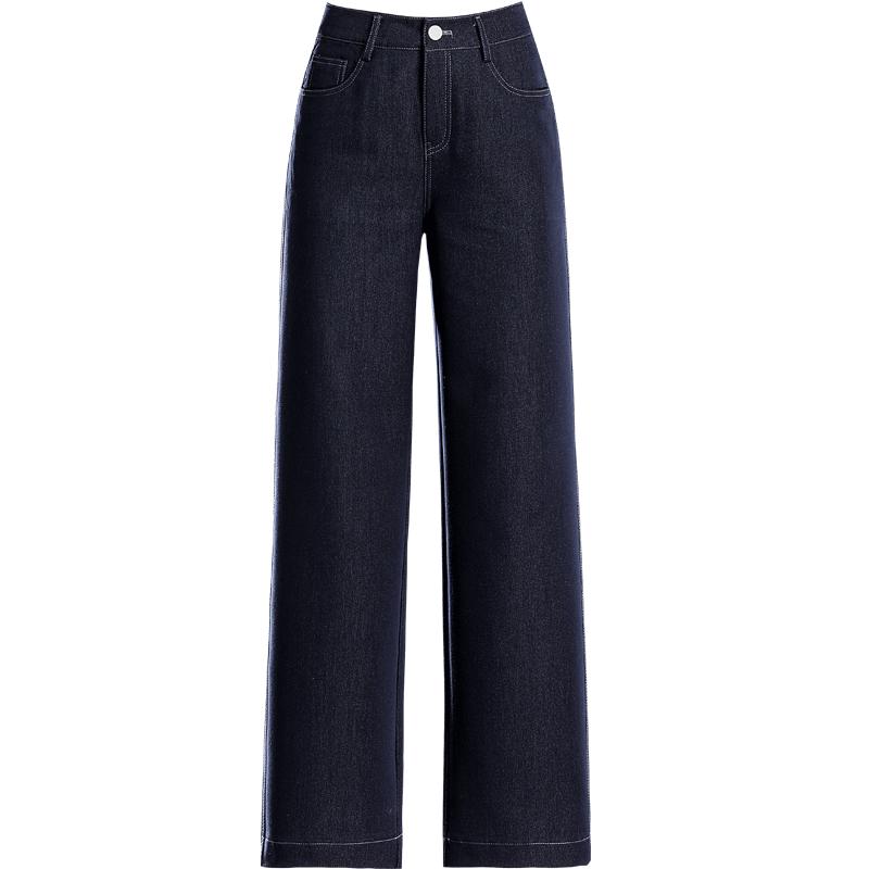 复古牛仔蓝阔腿裤高腰宽松直筒裤