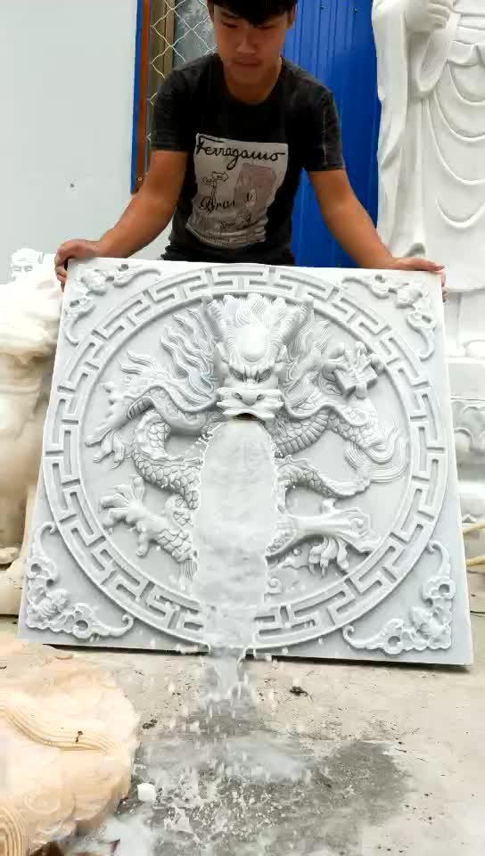 Custom Customer Design Stone Sculpture New Product Marble Dragon Head Statue Wall Water Fountain For Home & Garden Decoration