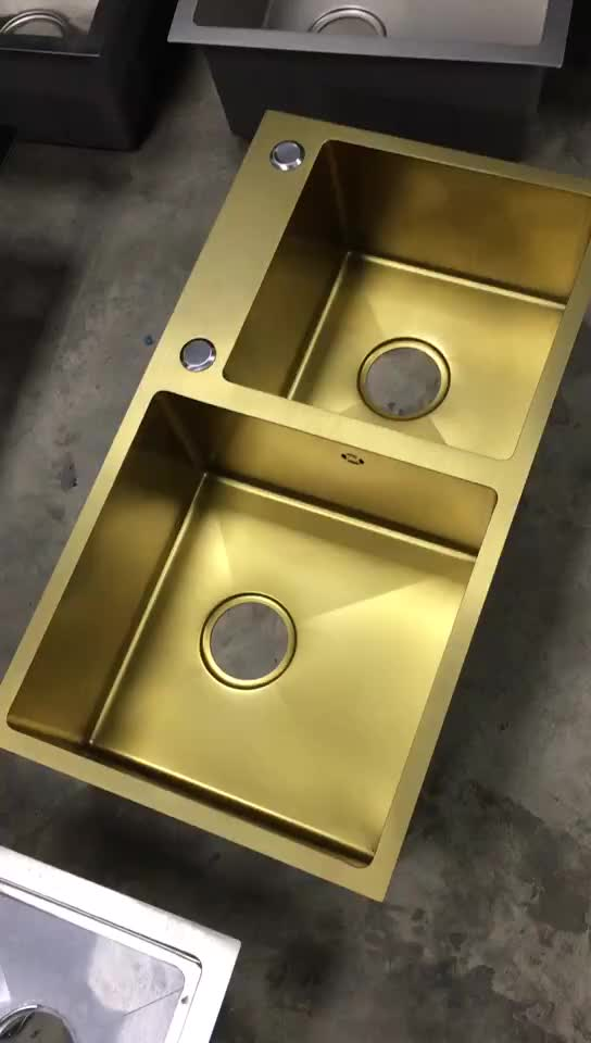 Stainless Steel Gold Color Double Bowl Handmade Kitchen