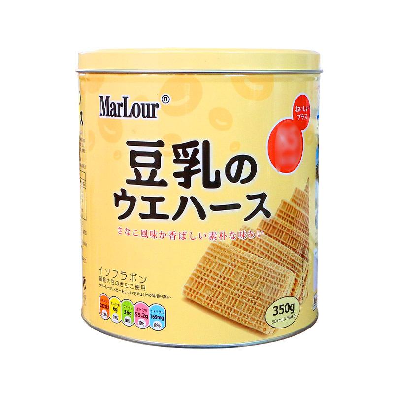 小红书推荐MarLour万宝路豆乳威化饼干桶装350g罐装日本零食茶点