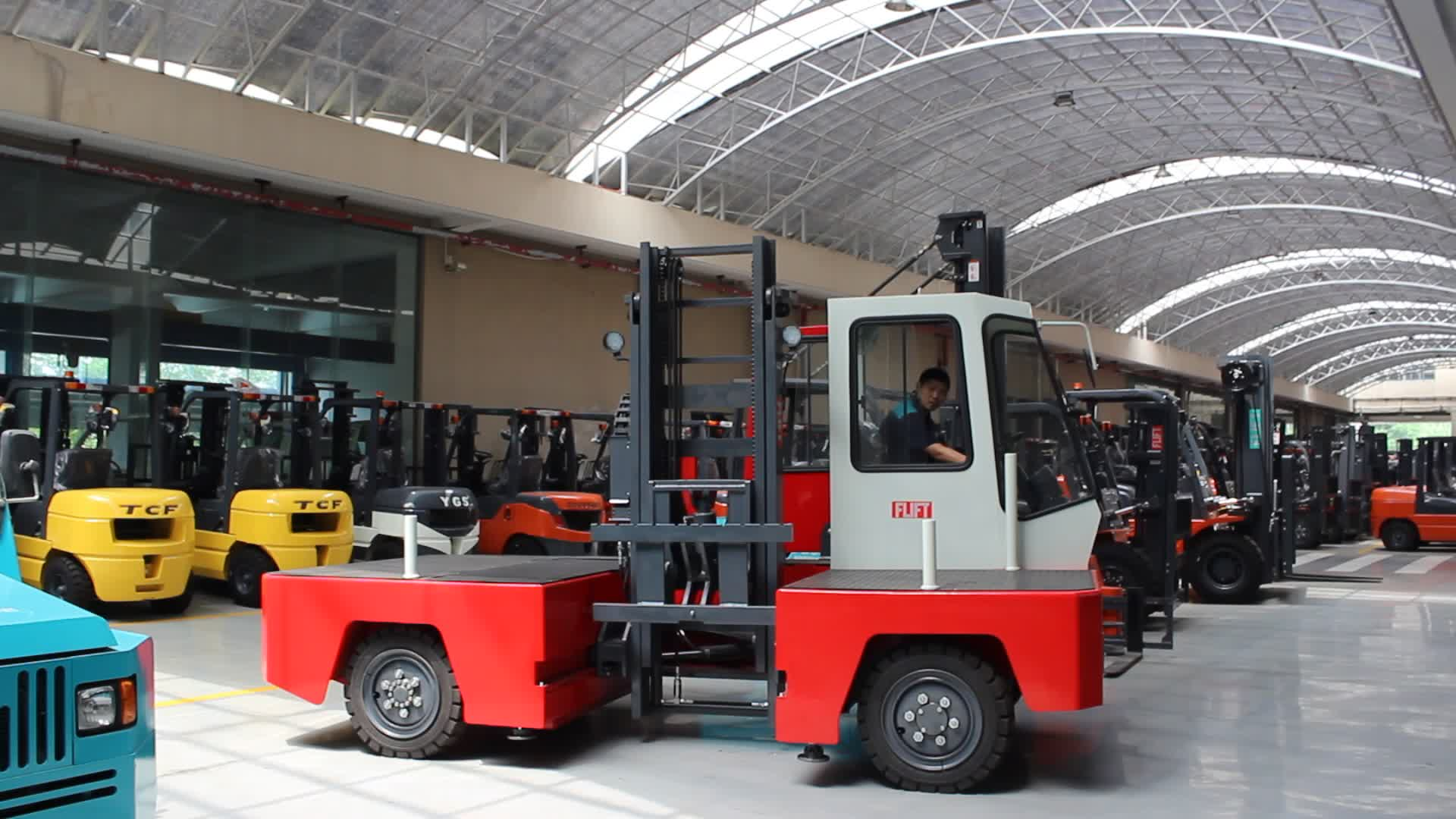 FBS30 cheap price 3ton electric side loader forklift truck for sale Chinese and Japanese Battery available